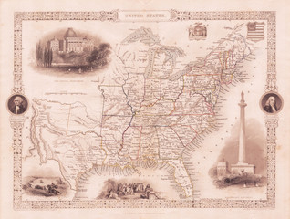 Fototapete - 1850, Tallis Map of the United States, Texas at fullest extent