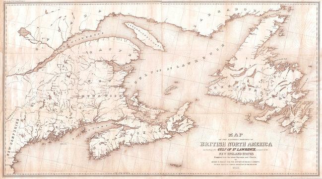 1853, Andrews Map of the Maritime Provinces, New Brunswick, Nova Scotia, Newfoundland
