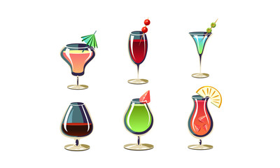 Cartoon vector set of various cocktails in glasses. Tasty alcoholic drinks with umbrellas and fruits
