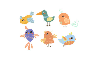 Wall Mural - Flat vector set of cute little birds. Lovely creatures with small wings. Graphic elements for children book