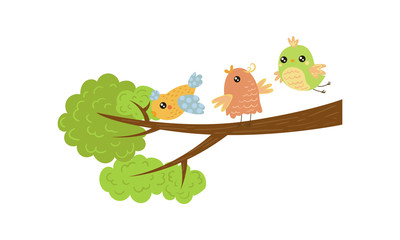 Wall Mural - Three little birds on tree branch. Spring season. Lovely creatures. Flat vector design for children book