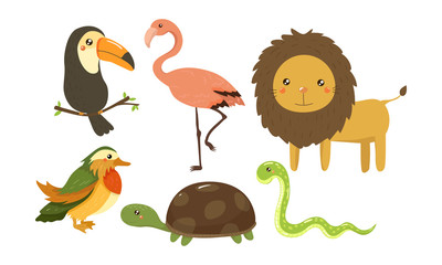 Flat vector set of cute jungle animals and birds. African fauna. Wildlife theme. Elements for children room decor