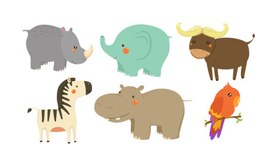 Set of African animals. Adorable cartoon characters. Wildlife theme. Flat vector elements for children book