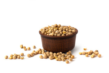 chick peas on white background isolate