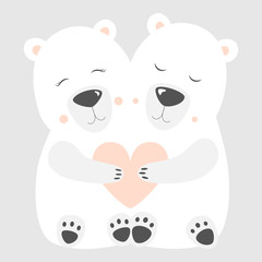 Love Polar bear Postcard Vector illustration