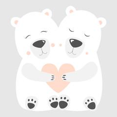 Love Polar bear Postcard Vector illustration