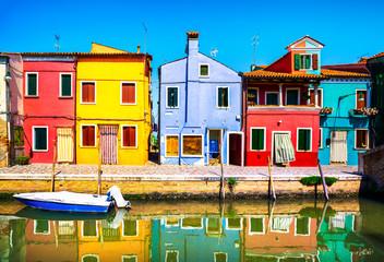 Aluminium Prints Wild West Venice landmark, Burano island canal, colorful houses and boats, Italy