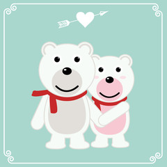 Romantic valentines day card of a pair of loving bears. Bears hold hands