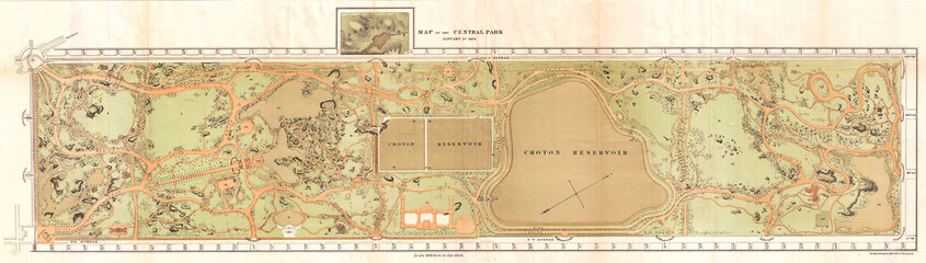 Fototapete - 1870, Vaux and Olmstead Map of Central Park, New York City
