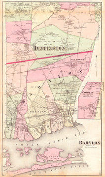 1873, Beers Map of Babylon and Huntington, Long Island, New York