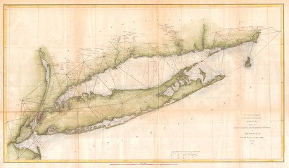 Fototapete - 1873, U.S. Coast Survey Chart or Map of Long Island, New York