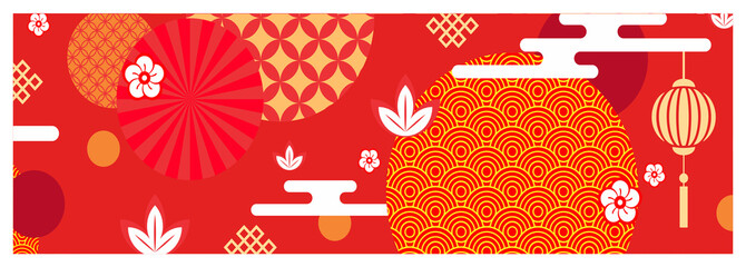 Colorful illustration, oriental pattern banner - chinese new year background, wallpaper