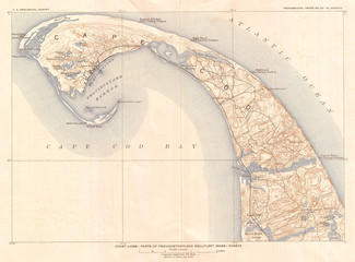 Fotomurales - 1908, U.S. Geological Survey Map of Provincetown, Cape Cod, Massachusetts