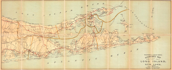 Fototapete - 1905, Automobile Club Map of Suffolk County, Long Island