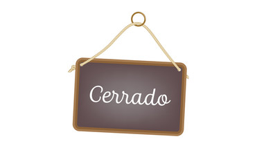 Vector image of a traditional door sign and text in Spanish - Cerrado