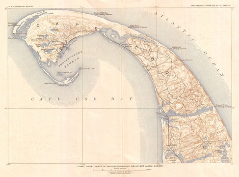 1908, U.S. Geological Survey Map of Provincetown, Cape Cod, Massachusetts