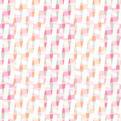 Graphic geometric woven lattice surface . Abstract seamless vector pattern. Trendy urban coral pink all over print. Stylish illustration for home decor or modern  textiles structure background.