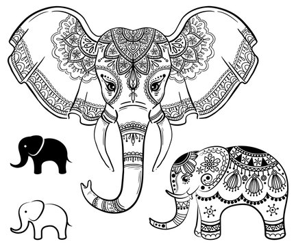 Set of abstract Indian elephant. Carved elephant and logo elephant. Stylized fantasy patterned elephant. Hand drawn vector illustration with traditional oriental floral elements.