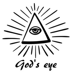 vector God's eye. sketch of masonic symbolism