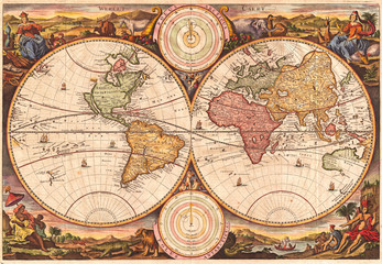 Fotomurales - 1730, Stoopendaal Map of the World in two Hemispheres