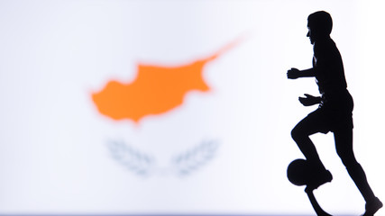 Cyprus National Flag. Football, Soccer player Silhouette