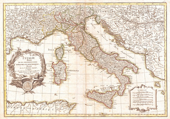1770, Janvier Map of Italy