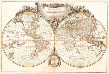 Fototapete - 1775, Lattre and Janvier Map of the World on a Hemisphere Projection