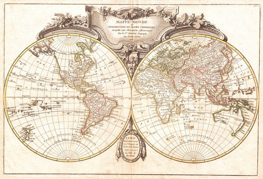 1775, Lattre and Janvier Map of the World on a Hemisphere Projection