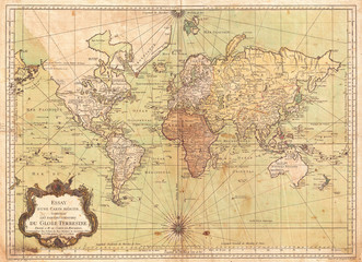 Fototapete - 1778, Bellin Nautical Chart or Map of the World