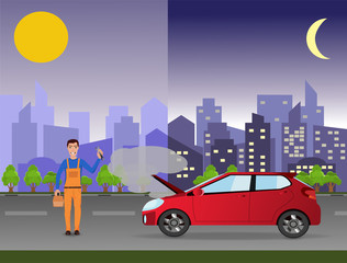 24/7 car service (repair) concept. Repairman in the city near a broken car.