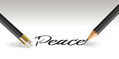 Concept de la déclaration de guerre avec un crayon qui écrit le mot paix et un autre qui l'efface.