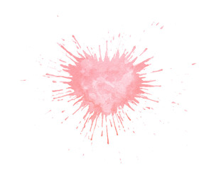 Hand painted watercolor splash texture in shape of heart. Pink paint blob isolated on the white background for cards or Valentine's Day postcards.