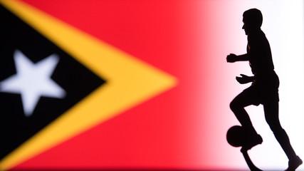 East Timor National Flag. Football, Soccer player Silhouette