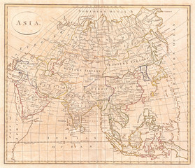 1799, Clement Cruttwell Map of Asia