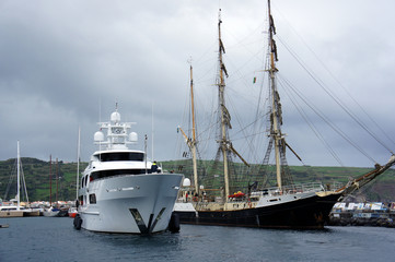 Old and new vessels in the harbour of the Horta.Azores.Faial Island.