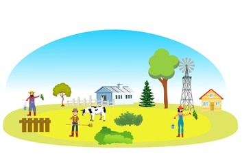 Farm concept with working farmers. Fields, farm houses  Vector