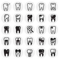 Tooth icon set on circles background for graphic and web design, Modern simple vector sign. Internet concept. Trendy symbol for website design web button or mobile app