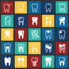 Tooth icon set on color squares background for graphic and web design, Modern simple vector sign. Internet concept. Trendy symbol for website design web button or mobile app