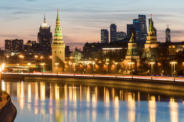 Russia, Moscow, Moskva river with the Kremlin and the financial district in background