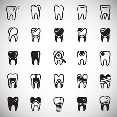 Tooth icon set on white background for graphic and web design, Modern simple vector sign. Internet concept. Trendy symbol for website design web button or mobile app