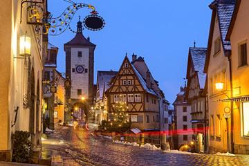 Keuken foto achterwand Europese Plekken Rothenburg ob der tauber medieval famous german town at night in germany bavaria