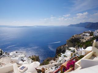 Deurstickers Canarische Eilanden Panoramia of Oia town in Santorini
