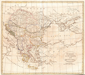 1799, Clement Cruttwell Map of Turkey in Europe