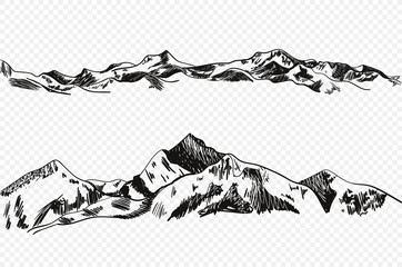 Vector Hand Drawn Mountains, Sketchy Illustration Isolated on Light Transparent Background.