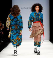 Models present creations by Rebekka Ruetz during the Berlin Fashion Week Autumn/Winter 2019/20 in Berlin