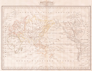 1832, Malte-Brun Map of the World on Mercator Projection