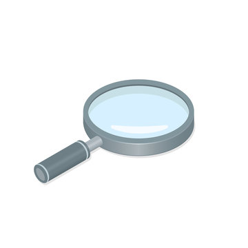 Magnifying glass Loupe isometric icon vector magnifier illustration design