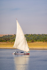 Egyptian traditional Felucca boat or Felluca on the Nile River