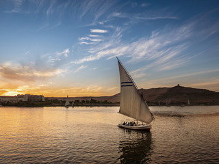 Sunset on the Nile River in Aswan City near Luxor and Cairo