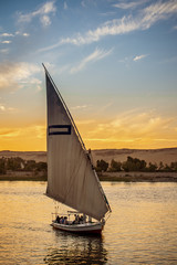 The Felucca boat the traditional way of navigation on the Nile River in Egypt